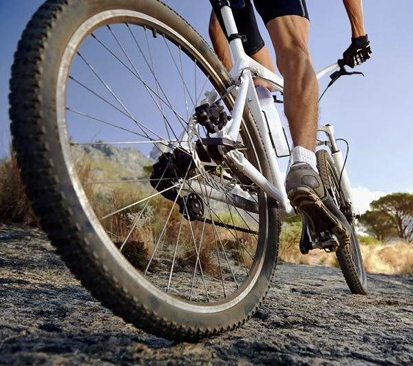 Guy mountain biking