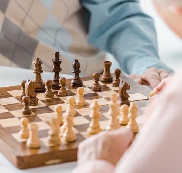 Seniors playing chess