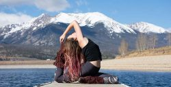 yoga pose with mountain view