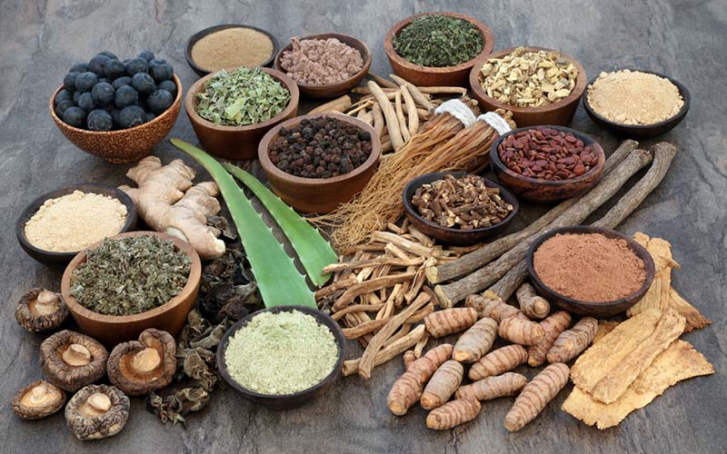 Adaptogenic herbs collection