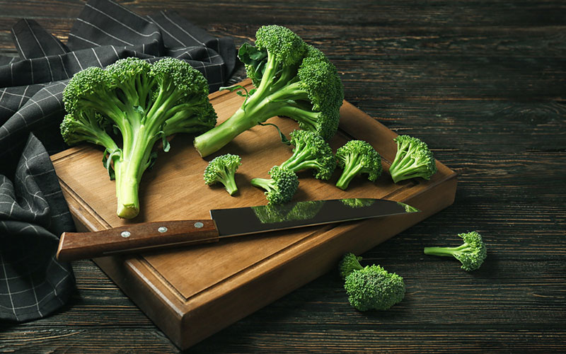 Preparing to cook brocolli